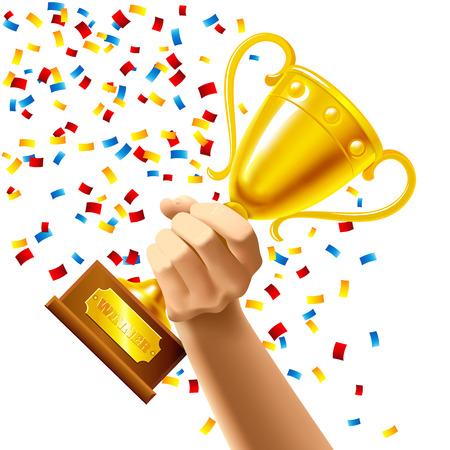 Une main tenant une tasse gagnant du trophée dans plusieurs des confettis de couleur notion illustration vectorielle Vecteurs