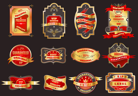 Golden crown highest quality best choice for vip customers retro emblems labels collection abstract vector isolated illustration