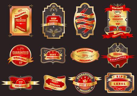 Gouden kroon hoogste kwaliteit beste keuze voor vip klanten retro emblemen etiketten geïsoleerd collectie abstracte illustratie Stock Illustratie