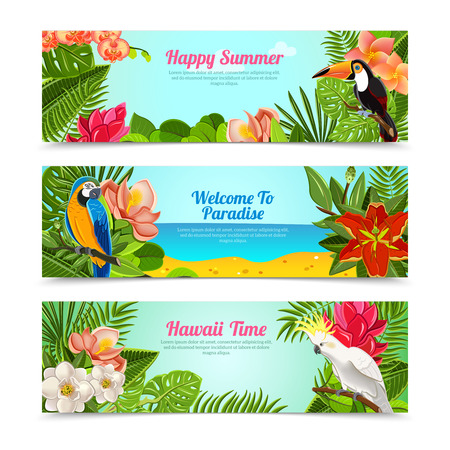 Happy time hawaii islands summer vacation horizontal posters set with tropical plants flowers abstract  isolated vector illustration