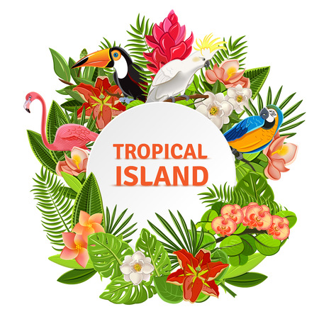 Tropical island circlet of beautiful plants flowers and exotic parrots frame pictogram poster print abstract vector illustration Stock Illustratie