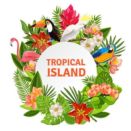 Tropisch eiland circlet van mooie planten bloemen en exotische papegaaien kader pictogram poster afdrukken abstract vector illustratie