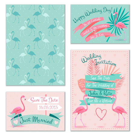 Romantic flamingo birds on mint background wedding invitation cards set with heart symbol abstract isolated vector illustration
