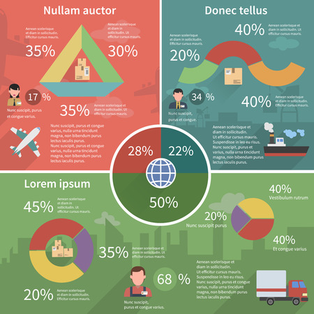 coordination: Worldwide global freight storage and delivery service logistic concept schemas infographic report poster abstract flat vector illustration Illustration