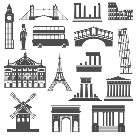 World travel famous places and monuments black icons set with arc de triumph abstract isolated  vector illustration Stok Fotoğraf - 39266657