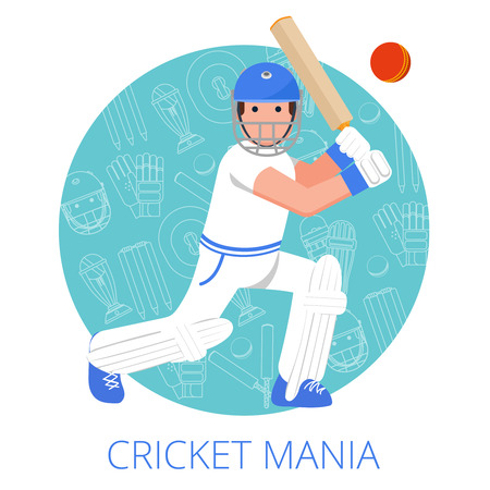 game equipment: Cricket player with bat in helmet and leg guards on game equipment outlined background abstract vector illustration Illustration
