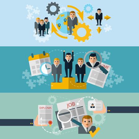 gestion: Selección de personal de recursos humanos y reclutamiento de empleados efectivos estrategia de 3 banners horizontales conjunto abstracto ilustración vectorial plana