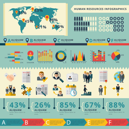 recruitment: Worldwide human resources personnel recruitment and consulting management strategy infographics  statistic charts presentation poster flat vector illustration