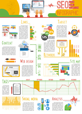 search engine optimization: Search engine optimization for web pages visibility results and analysis infograhic report presentation poster abstract vector illustration Illustration