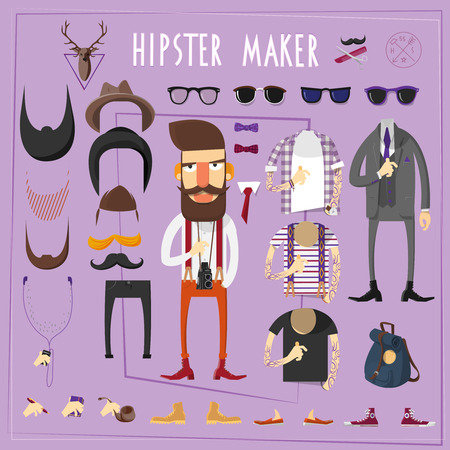 fake mustaches: Hipster master accessories constructor with sets of fake mustaches sun glasses and footwear abstract flat vector illustration