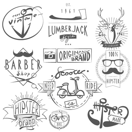 Hipster vintage original logos labels set in black with scooter bicycle and barbershop abstract vector isolated illustration