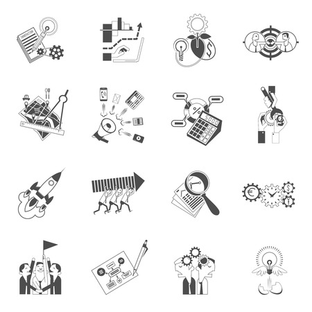 realization: Business startup concept for innovative ideas successful realization black graphic silhouette icons collection abstract isolated vector illustration Illustration