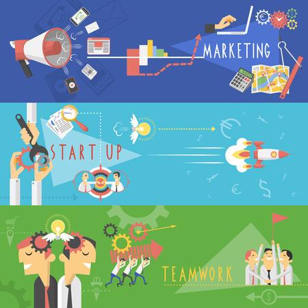 trabajo en equipo: Estrategia de éxito en los negocios de gestión de trabajo en equipo de inicio de Marketing banners horizontales establecen con personaje de dibujos animados abstracto aislado ilustración vectorial Vectores