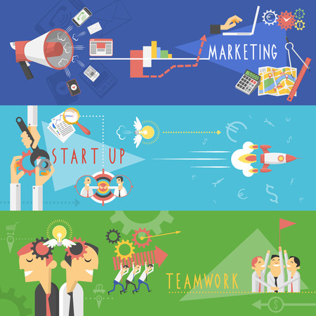 character abstract: Marketing startup teamwork management business success strategy horizontal banners set with cartoon character abstract isolated vector illustration