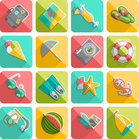 Summer vacation travel flat icons set with palm beach sunglasses diagonal slanted shadow abstract isolated vector illustration