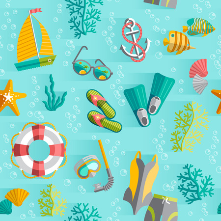 swimming suit: Tropical island vacation souvenir wrap paper seamless pattern with swimming suit and diving snorkel abstract vector illustration Illustration