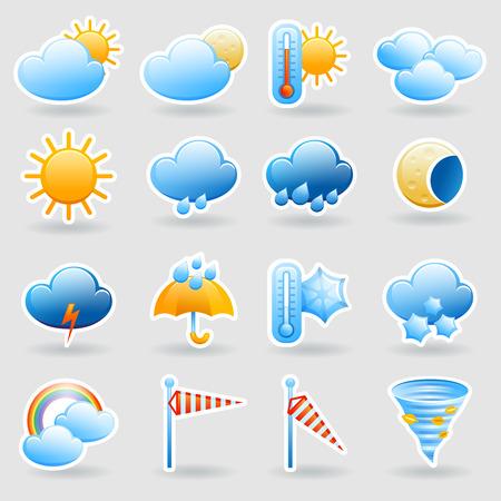 Weersverwachting tablet mobiele symbolen widget pictogrammen die met wolken en regenboog abstract vlakke geïsoleerde vector illustratie Stock Illustratie