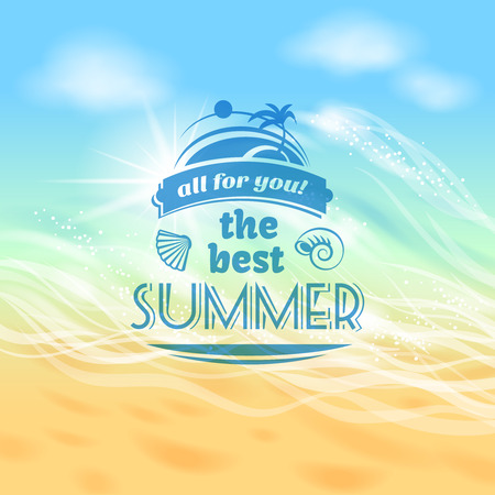 ビーチ海波抽象的なベクトル イラスト、ベスト夏までトロピカルな休日休暇背景広告ポスター
