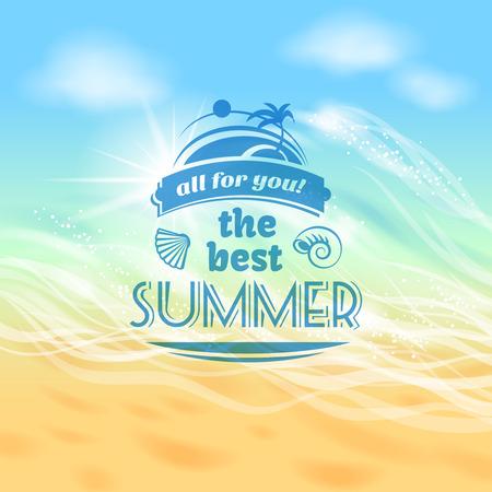 De beste zomer ooit tropische vakantie vakantie achtergrond reclame poster met strand zee golven abstracte illustratie Stock Illustratie