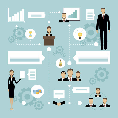 time is money: Business meeting concept with flat people silhouettes and icons of time money launch success vector illustration Illustration