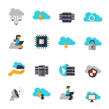 flat panel monitor: Cloud computing web technologies flat icons set isolated vector illustration