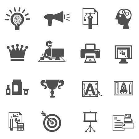 branding: Branding icons black set with brainstorm creative idea development symbols isolated vector illustration Illustration