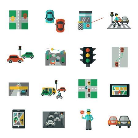 Automobile traffic road transportation icons flat set isolated vector illustration Illustration