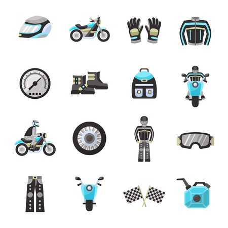 Motor bike rider flat icons set with helmet speedometer wheel isolated vector illustration
