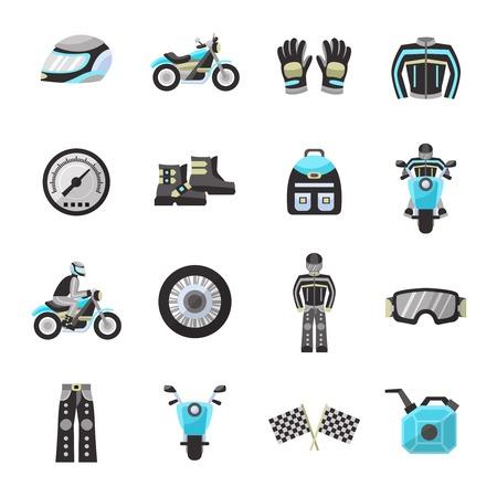 Motor bike rider flat icons set with helmet speedometer wheel isolated vector illustration