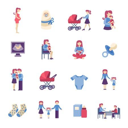 embarazada feliz: Maternidad embarazo y maternidad plana iconos conjunto ilustración vectorial aislado