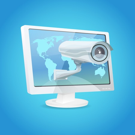 security monitor: Surveillance video camera and monitor global security concept vector illustration Illustration