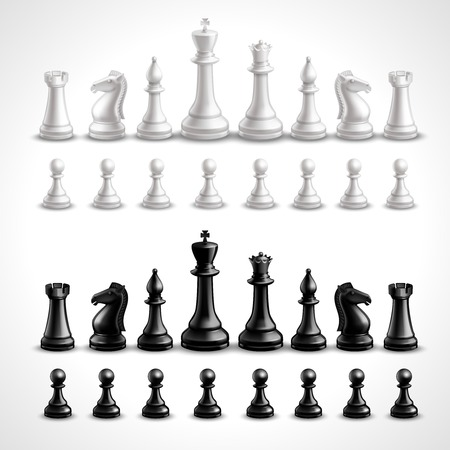 caballo de ajedrez: Juego de ajedrez Realista figuras en blanco y negro conjunto aislado ilustración vectorial