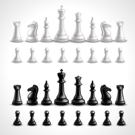 Realistische schaakspel zwart-wit cijfers geplaatst geïsoleerd vector illustratie