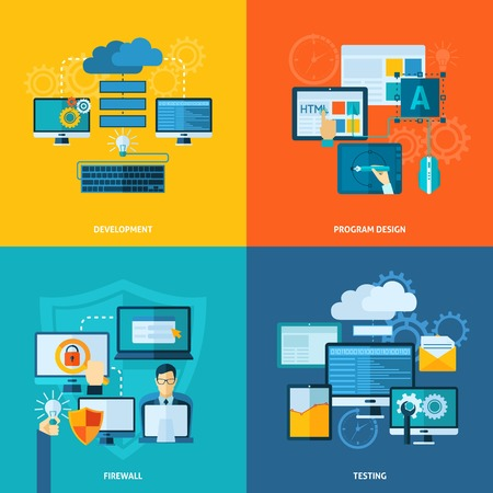 Program development design concept set with firewall and testing flat icons isolated vector illustration Çizim