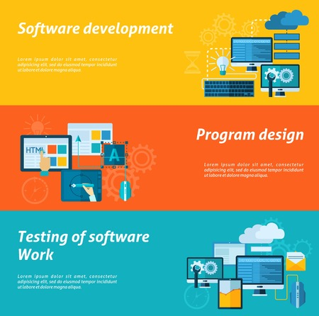 testing: Program development horizontal banner set with software testing flat elements isolated vector illustration Illustration