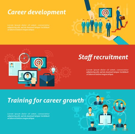 human development: Career development horizontal banner set with staff recruitment business training elements isolated vector illustration