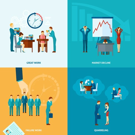 Stress at work design concept set with market decline frustration and depression flat icons isolated vector illustration Illustration