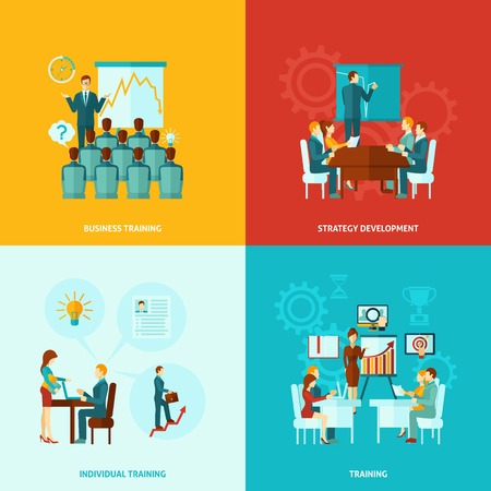 Business training ontwerpconcept set met geïsoleerde strategieontwikkeling vlakke pictogrammen vector illustratie