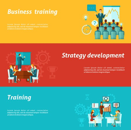 business scene: Business training horizontal banners set with strategy development elements isolated vector illustration Illustration