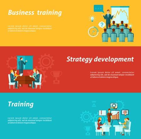 enseñanza: Formación de negocios banners horizontales establecen con elementos de desarrollo de estrategias ilustración vectorial aislado