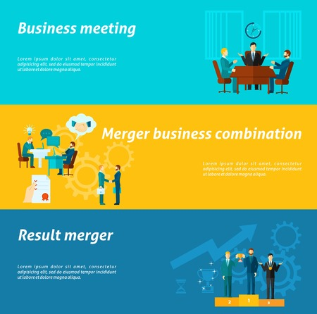 merger: Collaboration horizontal banner set with merger business meeting elements isolated vector illustration