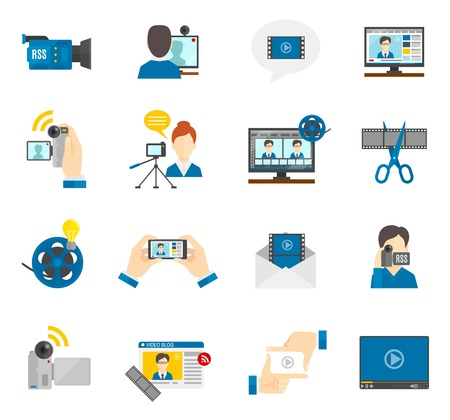 art blog: Social media and video blog flat icons set isolated vector illustration Illustration