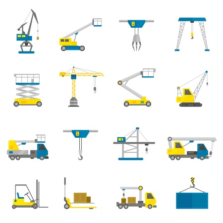 tower crane: Lifting equipment cargo transportation and construction machinery flat icon set isolated vector illustration