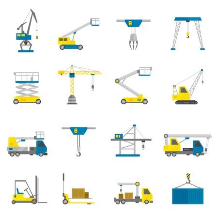 camion grua: Lifting equipo de transporte de carga y maquinaria de construcción icono plana conjunto aislado ilustración vectorial
