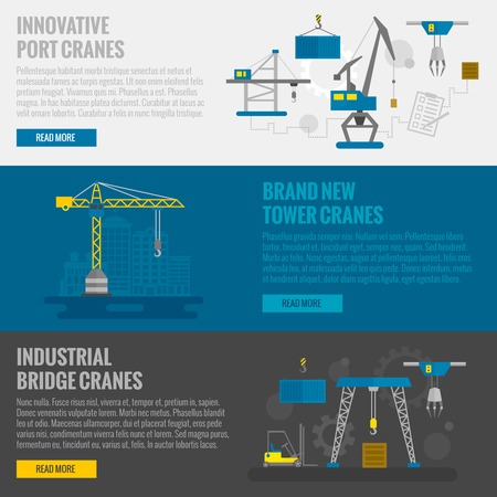 crane: Lifting equipment horizontal banner set with cargo and construction cranes elements isolated vector illustration
