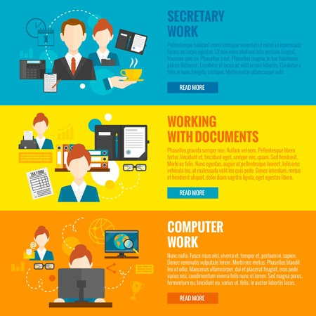 personal element: Personal assistant horizontal banner set with secretary work elements isolated vector illustration