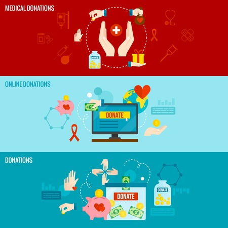 philanthropist: Charity horizontal banner set with online medical donations elements isolated vector illustration