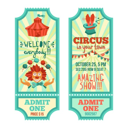 circus vector: Circus show advertising paper tickets set with clown and tent isolated vector illustration