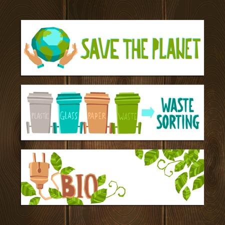 residuos organicos: Eco banners horizontales establecidas con elementos de desecho de clasificación aislado ilustración vectorial