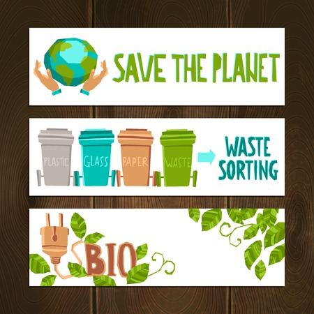 sorting: Eco horizontal banners set with waste sorting elements isolated vector illustration Illustration